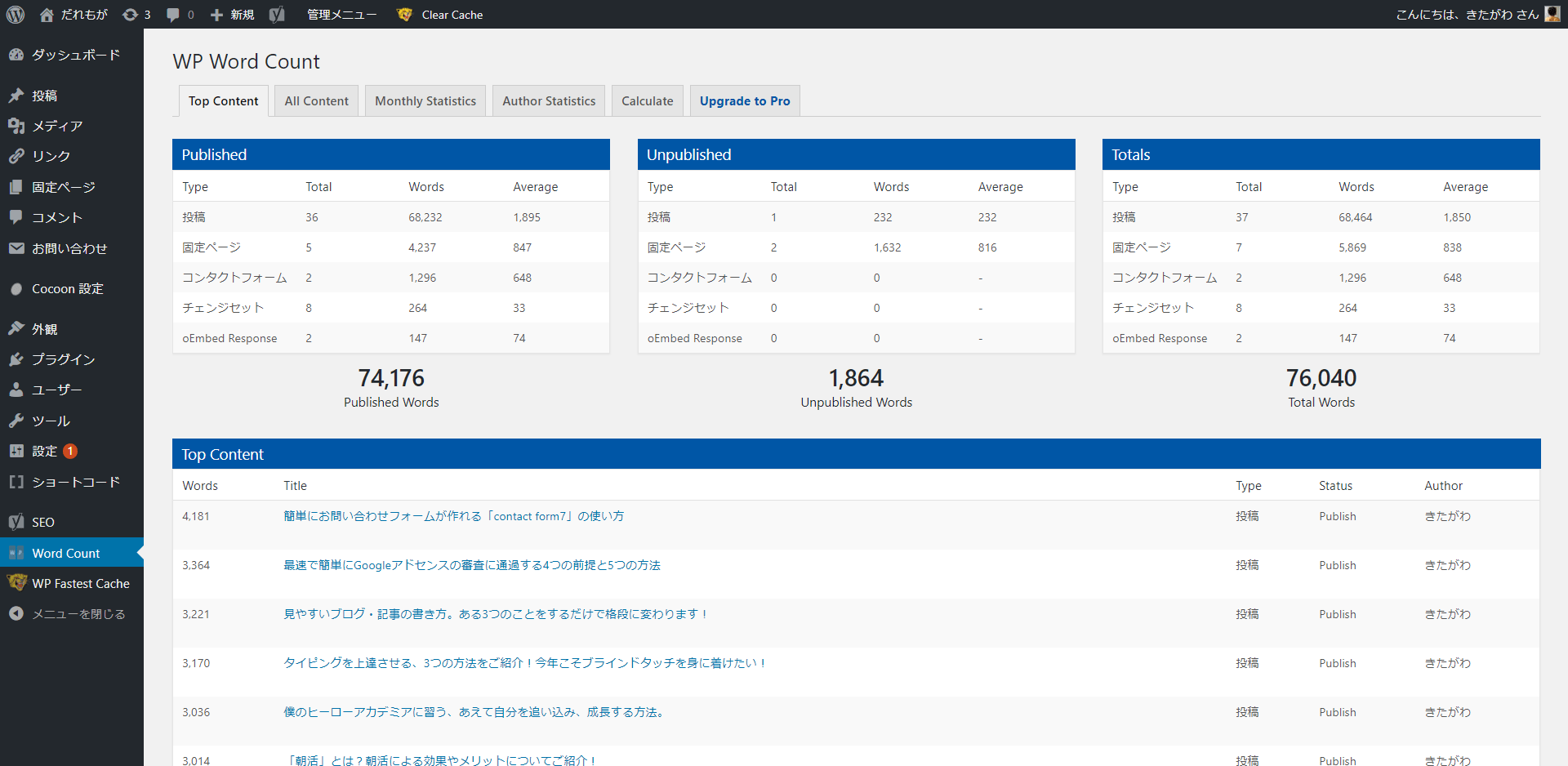WP Word Countの画面